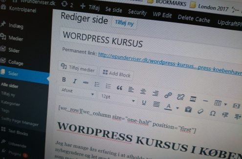 WordPress Kursus - WpUnderviser - WordPress backend
