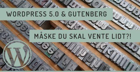 Wordpress 5.0 og Gutenberg .... måske du skulle vente lidt?!